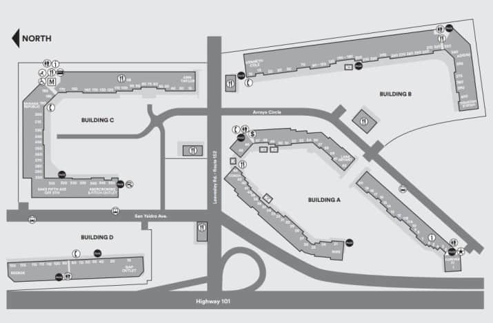 Map of Gilroy Outlets Map, - World Map Database Camarillo Premium Outlets Map on