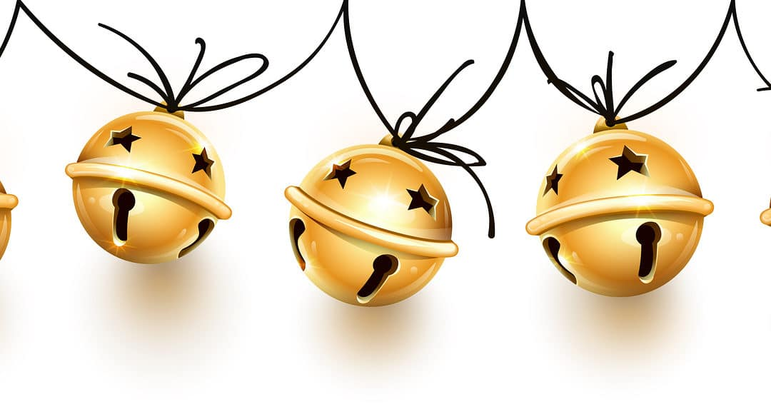 gold holiday bells held by black string