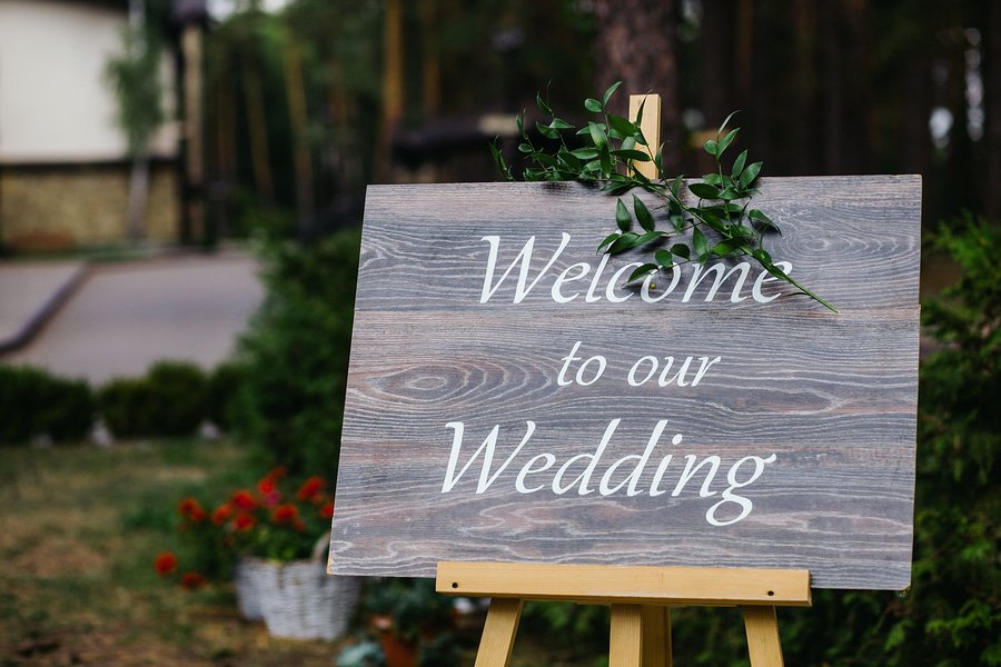 sign outside a beautiful California wedding venue